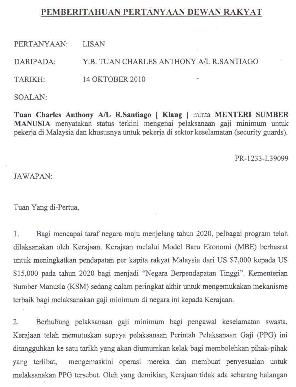 Jawapan Parlimen Status Terkini Mengenai Pelaksanaan Gaji Minimum Untuk Pekerja Di Malaysia Dan Khususnya Untuk Pekerja Di Sektor Keselamatan Security Guards Charles Santiago