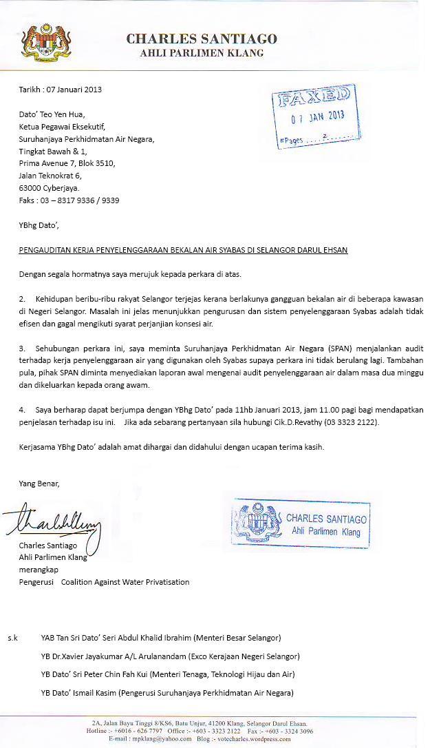Pengauditan Kerja Penyelenggaraan Bekalan Air Di Selangor Charles Santiago